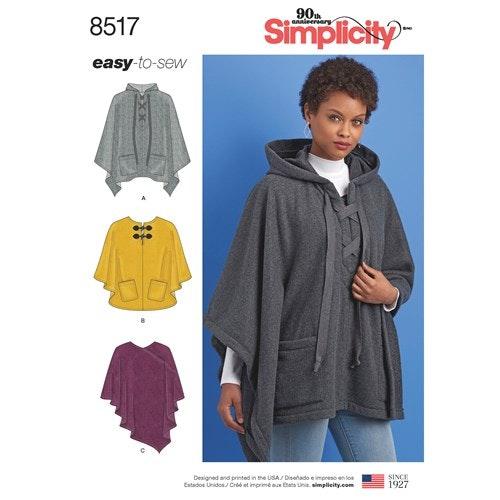 Simplicity 8517 A Dam Storlek 32-50 Poncho