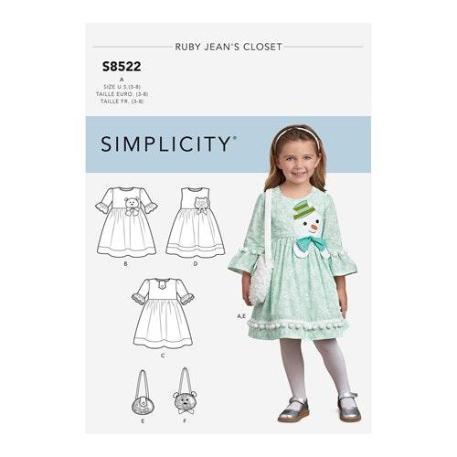 Simplicity 8522 A Barn Storlek 3-8 Klänning
