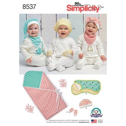 Simplicity 8537 OS baby Filt, mössa, vantar