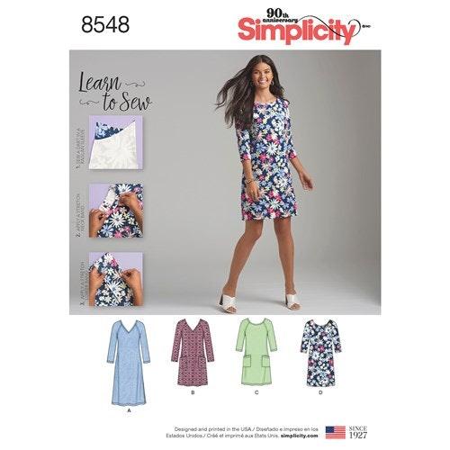 Simplicity 8548 A Dam Klänning  Storlek 38-50