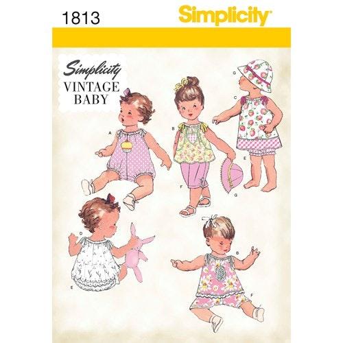 Simplicity 1813 A Baby Vintage garderob  XXS-L