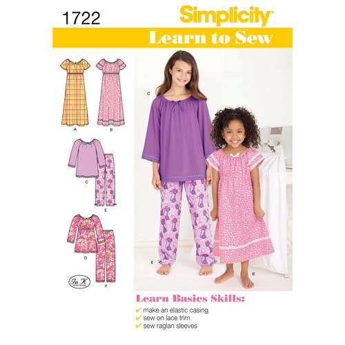 Simplicity 1722 K5 Barn Pyjamas storlek 7-14