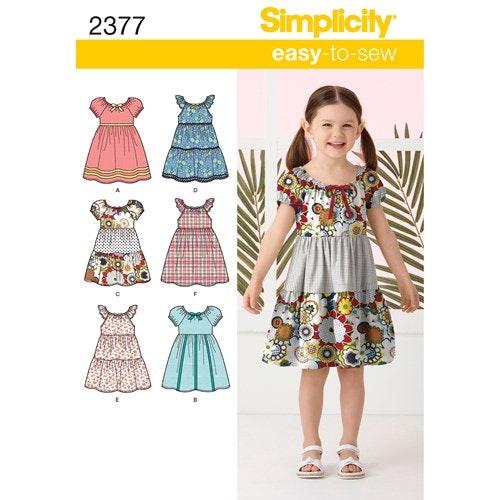 Simplicity 2377 Barn Klänning storlek  3-8