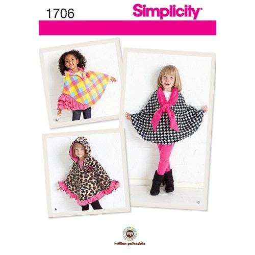 Simplicity 1706 A Barn Överdel cape storlek  3-8