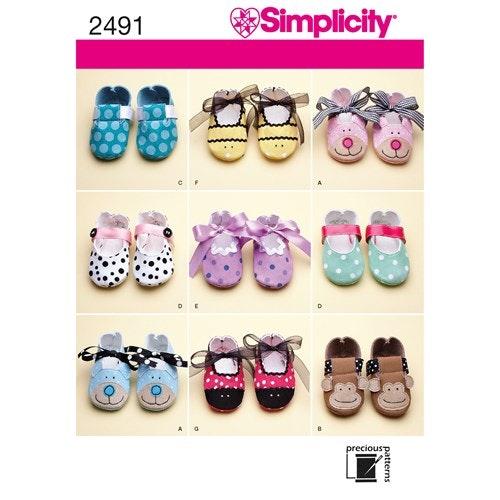 Simplicity 2491 A Barn skor storlek  XS-L 10cm-12cm