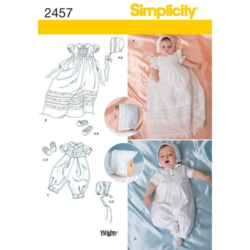 Simplicity 2457 A Barn Baby Dopklänning Storlek XXS-M