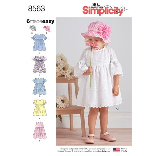 Simplicity 8563 A Barn Klänning storlek 1/2 - 4