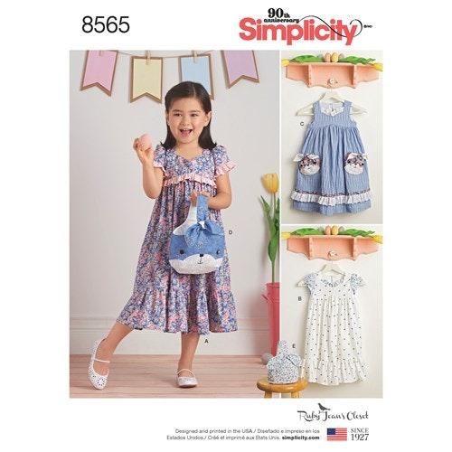 Simplicity 8565 A Barn Klänning storlek 3-8