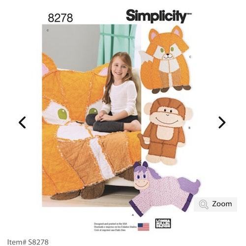 Simplicity 8278 Barn Filt Matta en storlek