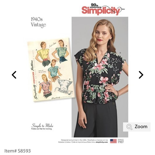Simplicity 8593 A Dam Storlek 36-46 Blus
