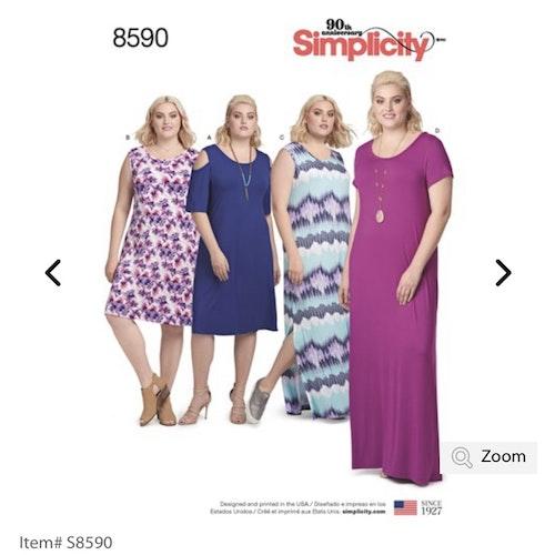 Simplicity 8590 A  Dam Klänning storlek 48-66