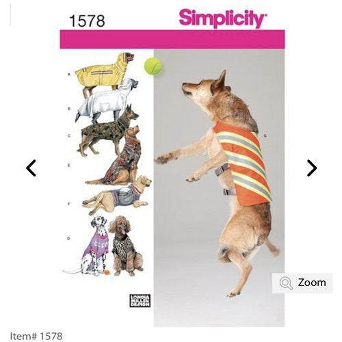 Simplicity 1578 OS Djur Hundkläder storlek One size