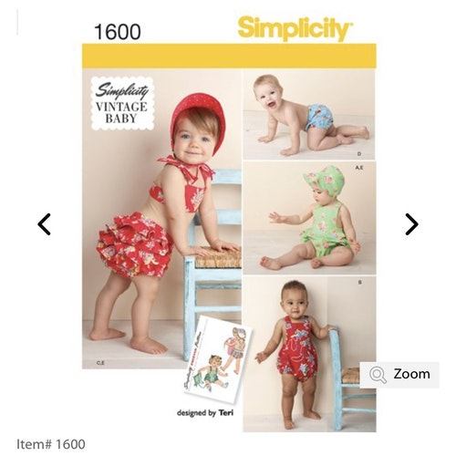 Simplicity 1600 A Barn Soldress storlek 1-18mån Flera plagg