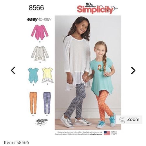 Simplicity 8566 K5 Barn Tunika Tights Storlek 7-14