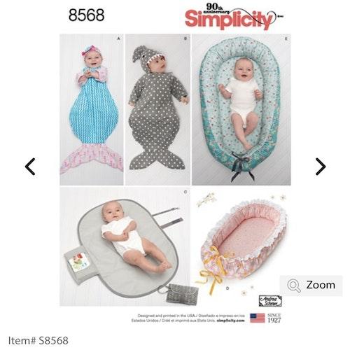 Simplicity 8568 OS Barn Babynest flera olika, en storlek