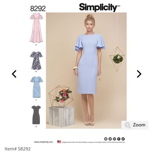Simplicity 8292 H5 Dam Storlek 34-40 Klänning