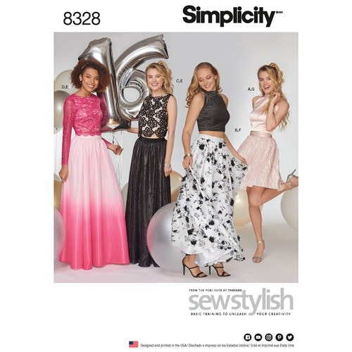 Simplicity 8328 P5 Dam Storlek 38-46 Topp Kjol