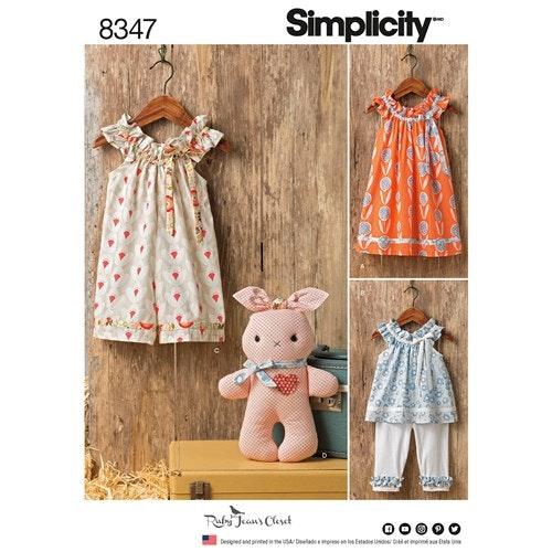 Simplicity 8347 A Barn Storlek 1/2-4 Klänning Capribyxa Kanin
