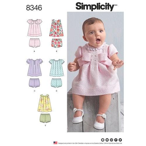 Simplicity 8346 A Baby Storlek  (XXS-L) 1-18 mån Klänning Byxa