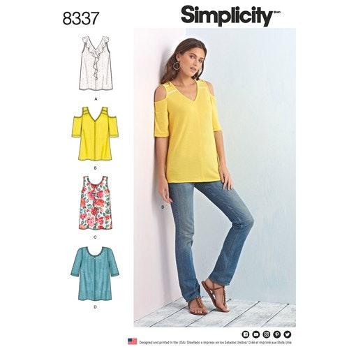 Simplicity 8337 A Dam Storlek  XXS-XXL Topp