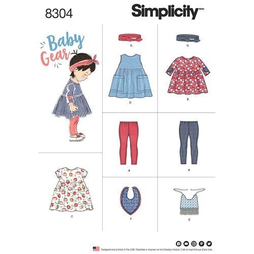 Simplicity 8304 A Barn Baby 1-18 mån Flera plagg