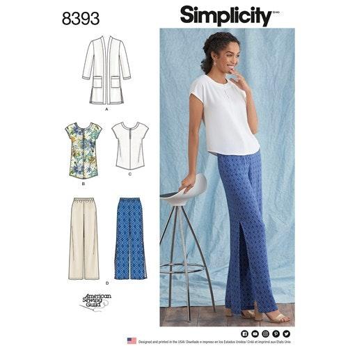 Simplicity 8393 AA Dam Storlek 36-44 Byxor Tunika/Topp Cardigan
