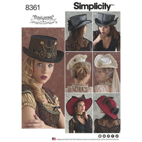 Simplicity 8361A Hatt Dam 3 storlekar