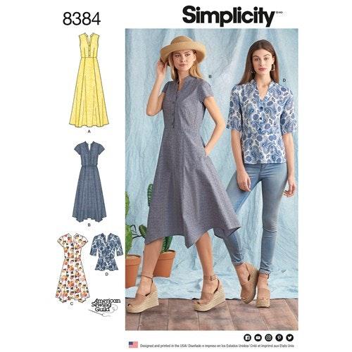 Simplicity 8384 H5 Dam Storlek 32-40 Topp Klänning