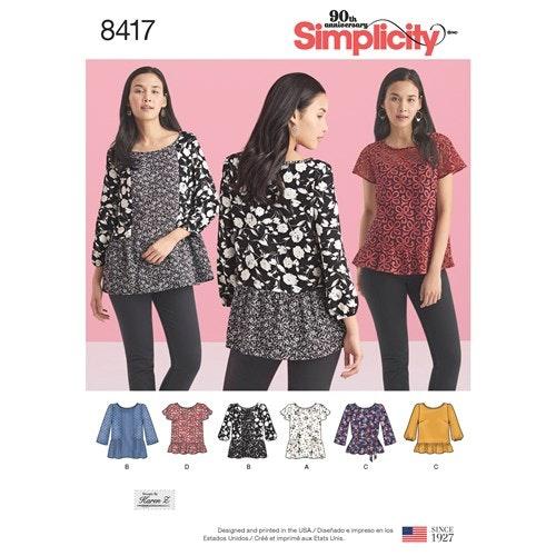 Simplicity 8417 R5 Dam Storlek 40-48 Topp Tunika