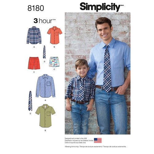 Simplicity 8180 A Herr / Barn Storlek S-XL Skjorta