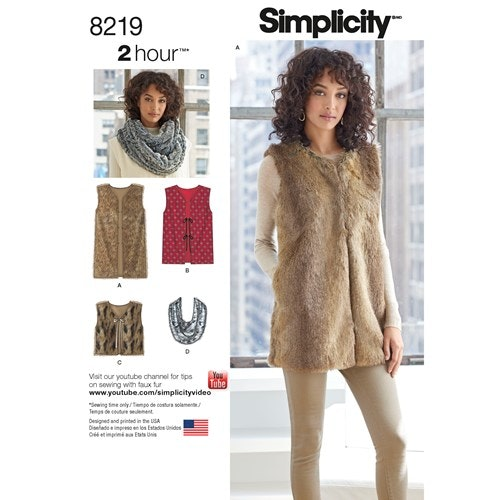 Simplicity 8219 A Dam Överdel Väst Storlek XS-XL 32-50
