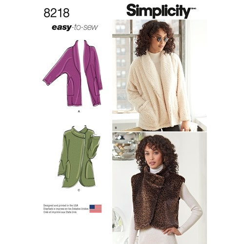 Simplicity 8218 A Dam Överdel Väst/Jacka Storlek XS-XL 32-50