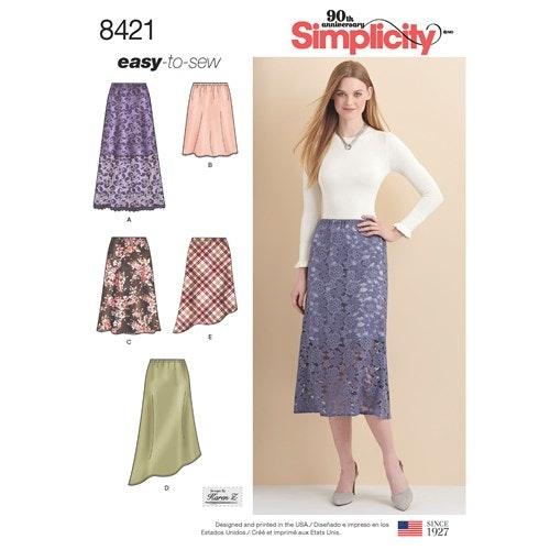 Simplicity 8421 U5 Dam nederdel Kjol storlek 44-52
