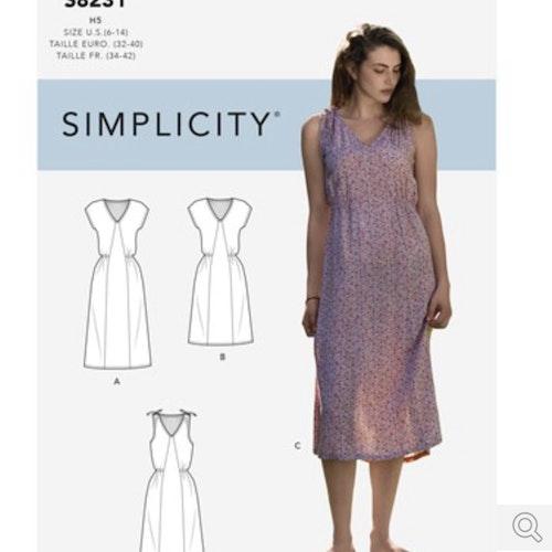 Simplicity 8231 H5  Dam Klänning  storlek 32-42