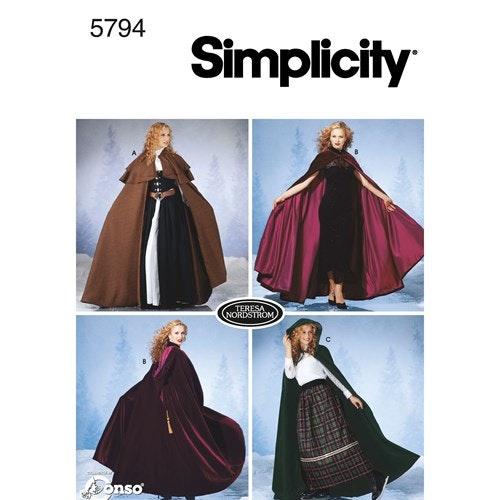 Simplicity 5794 A Dam Cape Storlek XS-L