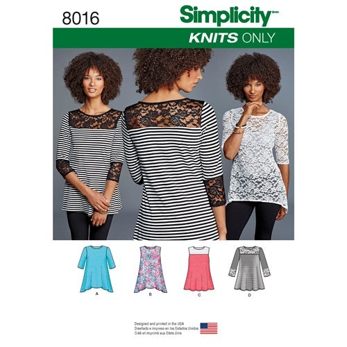 Simplicity 8016 A Dam Storlek XXS-XXL Topp Tunika