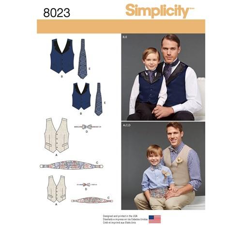 Simplicity 8023 A Barn / Vuxen Storlek S-XL Väst Slips Fluga Livré