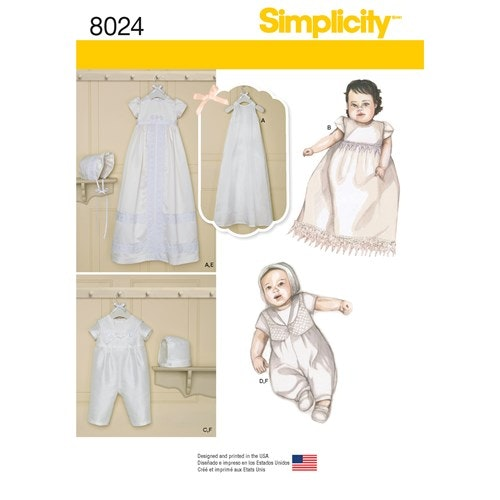 Simplicity 8024 A Barn Baby Dopkläder Storlek XXS-M