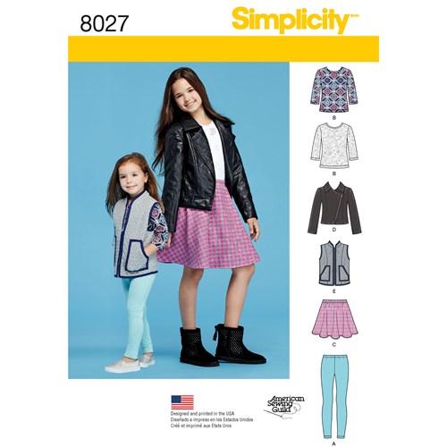 Simplicity 8027 HH Barn Tunika Topp Jacka Väst Kjol Tights Storlek 3-6
