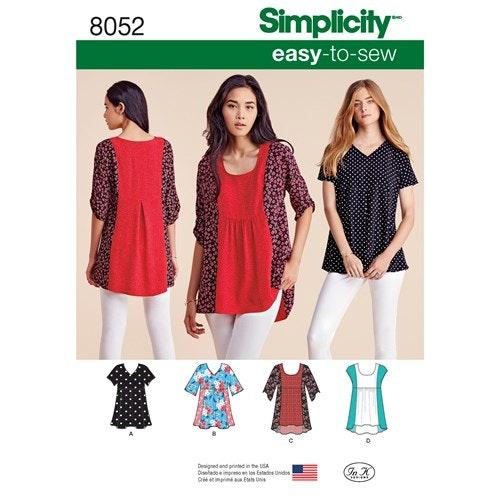 Simplicity 8052 A Dam Storlek XXS-XXL Topp Tunika