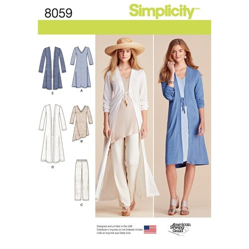 Simplicity 8059 A Dam Byxor Tunika / Topp Cardigan Storlek XXS-XXL