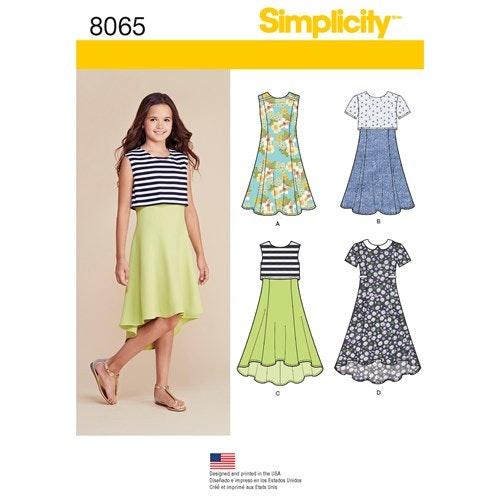 Simplicity 8065 AA Barn Klänning storlek 8-16