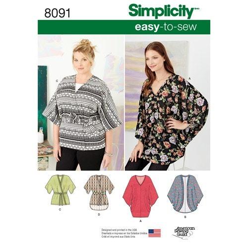Simplicity 8091 A Dam stl XXS- XXL Topp Tunika