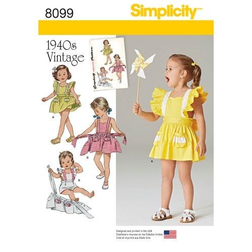 Simplicity 8099 A Barn Baby Storlek 1/2-4 Klänning