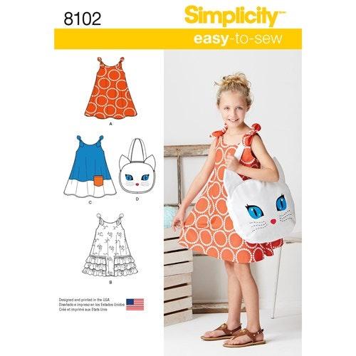 Simplicity 8102 A Barn Storlek 3-8 Klänning Väska