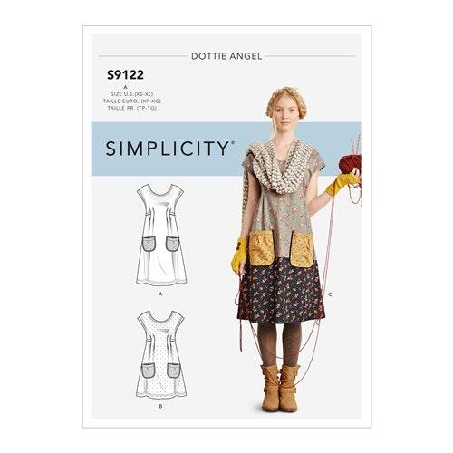 Simplicity 9122 A Förklädesklänning  Storlek XS-XL storlek 32-50