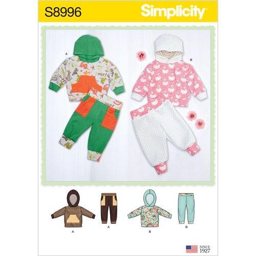 Simplicity 8996 A Barn Flera plagg storlek 1-18mån