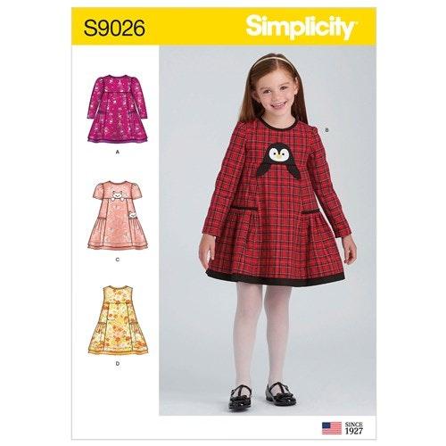 Simplicity 9026 A Barn Storlek 3-8 Klänning