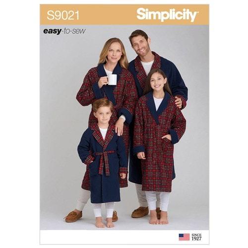 Simplicity 9021 A Barn Tonåring Vuxen Storlek XS-L / XS-XL Morgonrock