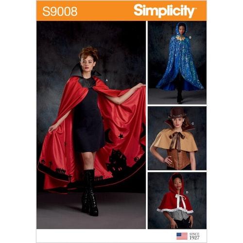 Simplicity 9008 A Dam Cape Storlek S-L